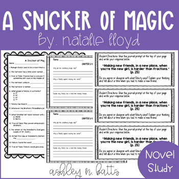 a snicker of magic novel study by adventures with miss a tpt
