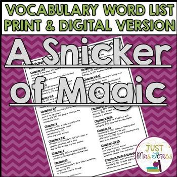a snicker of magic vocabulary word list by deana jones tpt