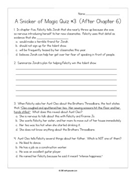 A Snicker of Magic by Natalie Lloyd:  14 Quizzes