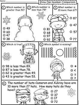 A+  Snow Day II: Number Comparison