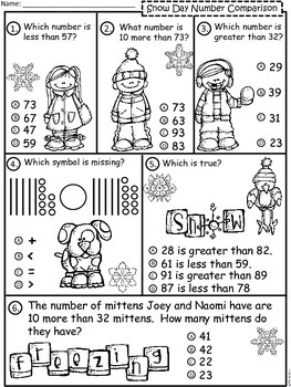 A+  Snow Day: Number Comparison