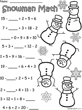 A+ Snowman Addition and Subtraction Differentiated  Practice