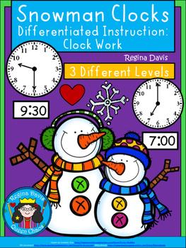 A+ Snowman Analog Clock & Digital Clock Work (Hour & Half Hour)