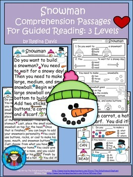 A+ Snowman  Comprehension: Differentiated Instruction For Guided Reading