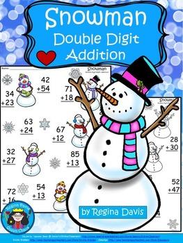 A+  Snowman: Double Digit Addition