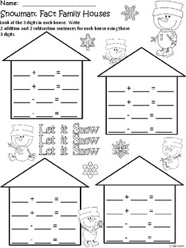 A+ Snowman: Fact Family Houses