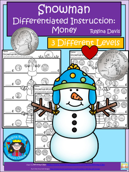A+ Snowman Money Count: Differentiated  Practice