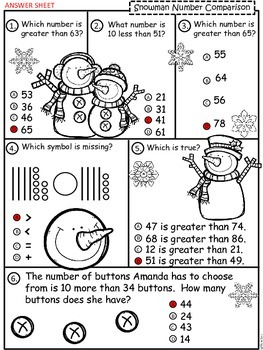 A+  Snowman: Number Comparison