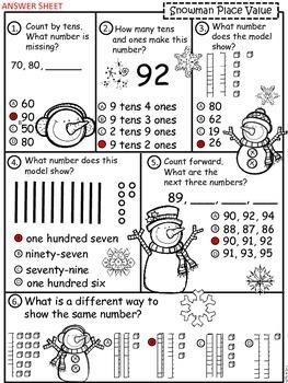 A+ Snowman Place Value Practice