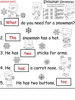 A+ Snowman Sentences: Fill In The Blank