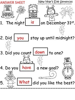 A+ New Year's Eve Sentences: Fill In The Blank