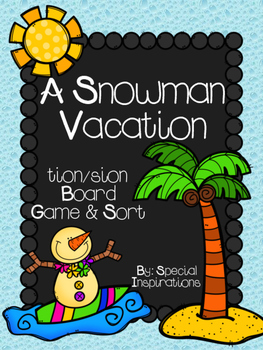 A Snowman Vacation! tion/sion Board Game and Sort