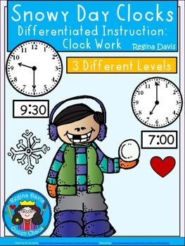 A+ Snowy Day Analog Clock & Digital Clock Work (Hour & Half Hour)