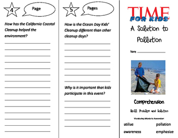 A Solution to Pollution Trifold - California Treasures 3rd Grade Unit 4 Week 3