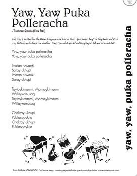 A Song In Quechua – Yaw, Yaw, Puka Polleracha