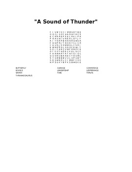 A Sound of Thunder Wordsearch