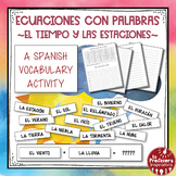A Spanish Vocabulary Activity: Word Math - El tiempo   Weather