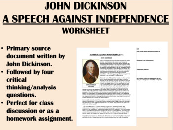 """A Speech Against Independence"" - John Dickinson - America"