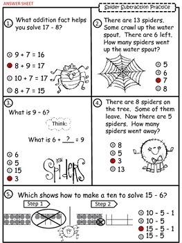 A+  Spider: Subtraction Practice