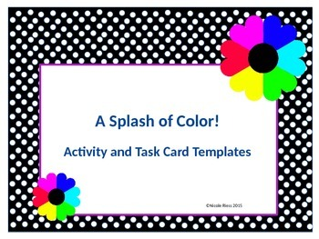 A Splash of Color - Activity and Task Card Templates