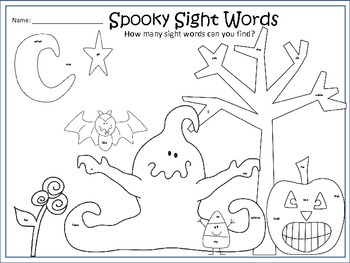 A+ Spooky Sight Words