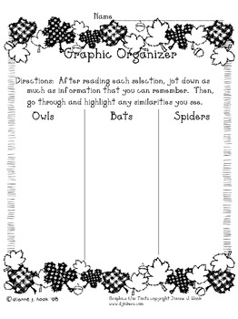 A Spooky Way to Teach Compare/Contrast/Comprehension:  Bats, Owls, & Spiders