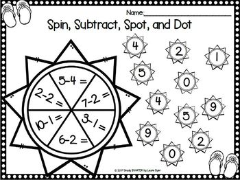 A Spot in the Sun:  NO PREP Summer Themed Bingo Dauber Math Activities