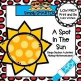 A Spot in the Sun:  NO PREP Summer Themed Bingo Dauber Mat