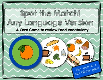 Spot the Match game for Food Vocabulary : Works in ANY Lan