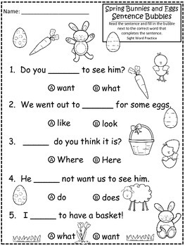 A+ Spring Bunny And Eggs: Fill In the Blank.Multiple Choice Sight Word Sentences