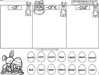 A+ Spring Eggs Word Sort: Differentiated Instruction....2 Different Versions
