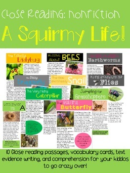 A Squirmy Life! {10 Nonfiction Close Read Texts & Activities}