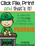 St. Patrick's Day Math and Literacy No Prep FREEBIE