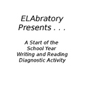 A Start of the  School Year  Writing and Reading Diagnostic Activity