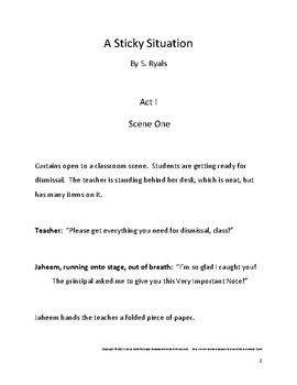 A Sticky Situation Elementary Script Drama Club Readers Theater Play