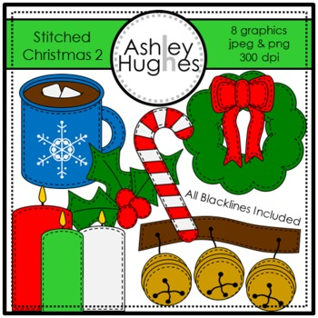 A Stitched Christmas 2 Clipart {A Hughes Design}