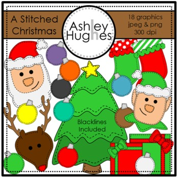 A Stitched Christmas Clipart {A Hughes Design}