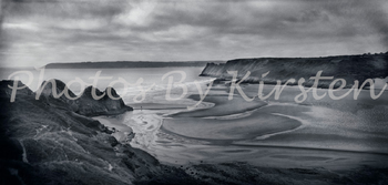 A Stock Photo of a Beach Landscape Black and White
