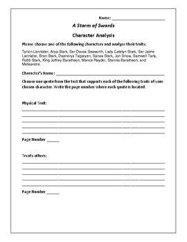 A Storm of Swords Character Analysis Activity - George R.R. Martin