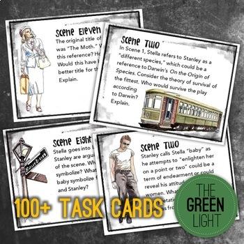 A Streetcar Named Desire Bundle: Unit Plan, Worksheets, Task Cards, & Activities