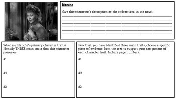 A Streetcar Named Desire: Character Chart Workbook/ Graphic Organizer