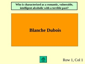 A Streetcar Named Desire Jeopardy Game PowerPoint - Exam Review