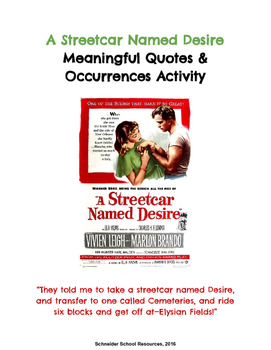 A Streetcar Named Desire Meaningful Quotes and Occurrences Assignment