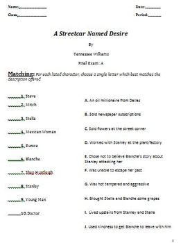 A Streetcar Named Desire: Quizzes, Test and Essays Only