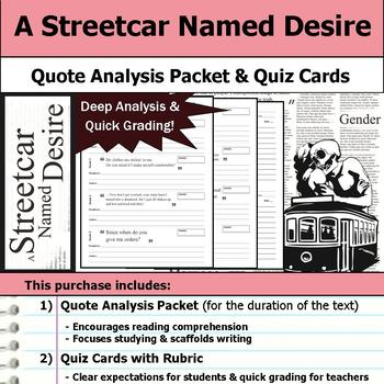 A Streetcar Named Desire - Quote Analysis & Reading Quizzes