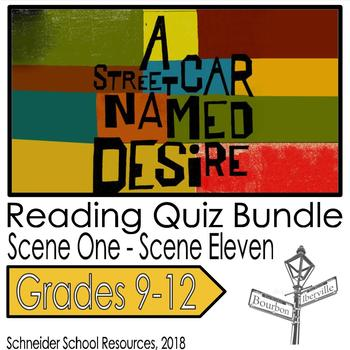 A Streetcar Named Desire Reading Quiz Bundle- Scenes 1- 11