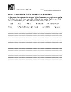 A Streetcar Named Desire Symbolism Worksheet