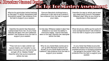 A Streetcar Named Desire Tic Tac Toe Mastery Assessment