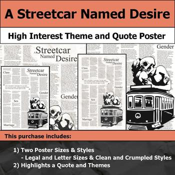 A Streetcar Named Desire - Visual Theme and Quote Poster for Bulletin Boards