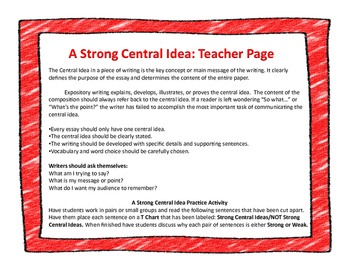A Strong Central Idea Practice Game!